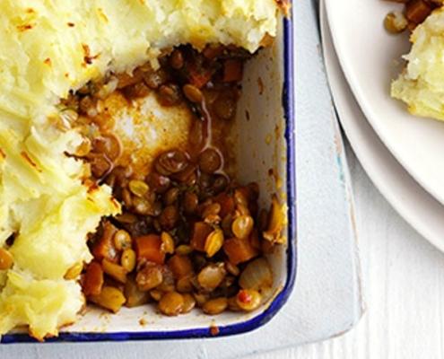 Vegetarian shepherd's pie with spiced lentils