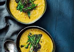 Red lentil dahl soup with broccoli tarka